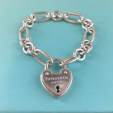 RARE Tiffany Co Silver Heart Arc Lock Padlock Oval Round Link Bracelet POUCH BOX