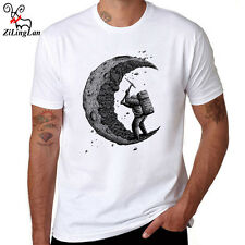 Digging the moon T-Shirt Men's Custom Printed Tops Cotton Short Sleeve