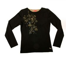 Puma Long Sleeve Black And Olive  Flower Design Stretch Cotton Casual Top UK16