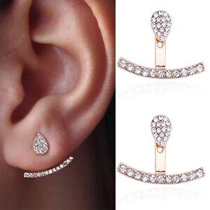 Silver Plated Earrings Cubic Zirconia Ear Jacket Floating Earrings Double Sided Earrings Front Back Earrings