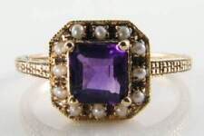 DIVINE 9CT 9K GOLD AMETHYST FRESH PEARL SQUARE ART DECO INS  RING Free Resize.
