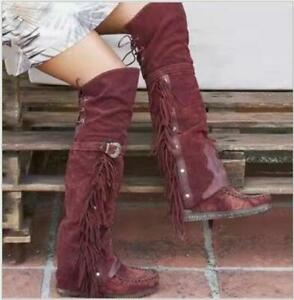 Womens Fashion Faux Suede Tassel Buckle Boho Pull On Over Knee Boots Shoes 2664