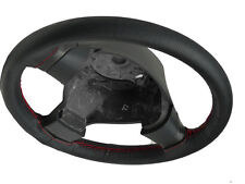 BLACK PERFORATED LEATHER STEERING WHEEL COVER FOR PEUGEOT 107 RED STITCHING NEW