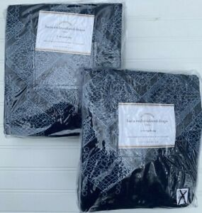 """SET of 2 Pottery Barn LUCIA EMBROIDERED DRAPES 96"""" Blue Curtains NEW NWT"""