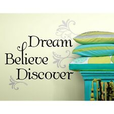 DREAM BELIEVE DISCOVER WALL STICKERS Black Room Decals Quote Home Decor NEW