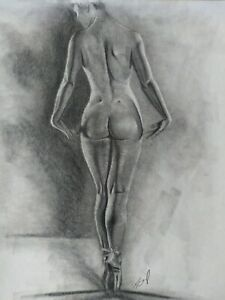 Pencil Drawing Nude Female Ballerina Original Signed Picture Art Bodyscape