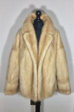 Ivory Blonde Real Mink Fur Jacket Coat Stole Shrug Bolero Poncho S M 8 10 12 UK