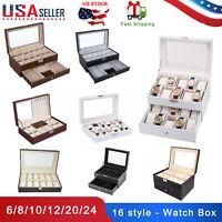 6/8/10/12/20/24 Slot Watch Box Display Case Organizer Glass Jewelry Storage US