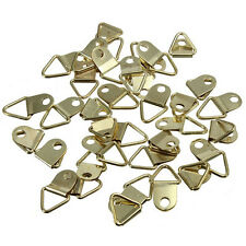 20X Golden Brass Triangle Photo Picture Frame Wall Mount Hook Hanger Ring NT