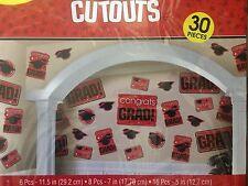 Graduation RED Grad Mega Value 30 pcs CUTOUTS Party Supply 5-5D 3D