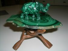 vtg Malachite green crystal slab curio table marked 17.60 w/ mini elephant