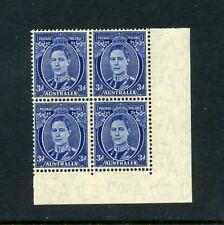 More details for australia 1937-49 3d blue die iii p15x14 corner blk sg186 mvlh cv£180  sale+