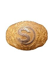 """Plate over Jewelers Bronze Initial """"S"""" Crumrine Belt Buckle #2 - Gold/Silver"""