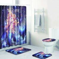 Mermaid Bathroom Rug Shower Curtain Skidproof Toilet Lid Cover Bath Mat Rug Set