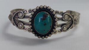 """Estate Jewelry Mexico Turquise Bangle Bracelet .925 Sterling Silver 7"""""""