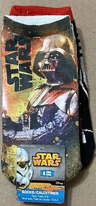 4 pair Star Wars Disney Size 6-8 Full Graphic Socks, Darth Vader & Storm Trooper