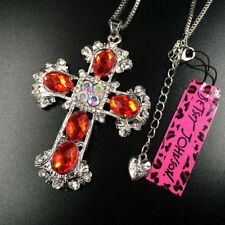 Lovely Betsey Johnson Red Crystal Silver Cross Pendant Chain Sweater Necklace