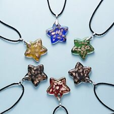 Murano Lampwork Glass Star Pendant Necklace Adjustable Leather Women Jewelry Hot