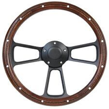 "1965 - 1991 Ford Mustang 14""  Mahogany & Black Billet Steering Wheel, Full Kit"