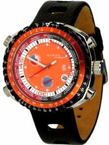 Sorna GMT Worldtimer orange Automatikuhr Herrenuhr Vintage-Design Armbanduhr