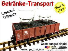 Spur G Getränke Transport Einsatz + 2x 35cl Gläser - Lasercut 1:22,5 f. LGB 4020