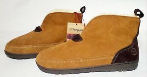Dearfoams Men's Suede Notch Boot Slipper Chestnut Size 9, 10, 11, 12
