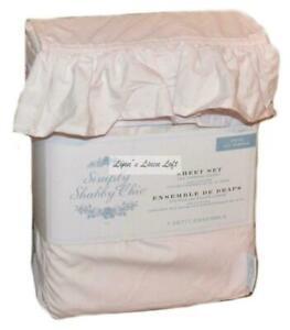 SIMPLY SHABBY CHIC Pale Pink Ruffle TWIN SHEET SET COTTON RACHEL ASHWELL