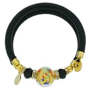 GlassOfVenice Dorato Murano Glass Leather Bracelet - Multicolor Confetti