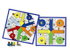 Tablero madera Parchís 4 y 6 jugadores, con marco. Piezas en madera