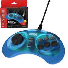 Retro-Bit Official SEGA Genesis USB 8-button Arcade Pad - Transparent Blue