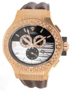 1ct Aqua Master Men's Rose Gold Case Silver Dial Diamond Bezel Watch W206
