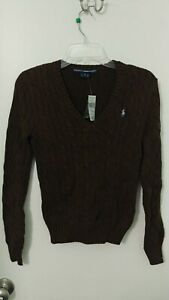 Women's RALPH LAUREN SPORT Sweater100% Cotton Cable Knit - Brown Sz S Vneck