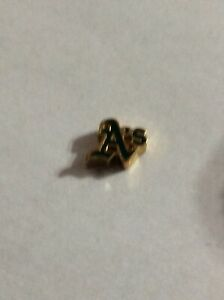 Authentic Origami Owl Floating Charm Gold And Green A's team Charm