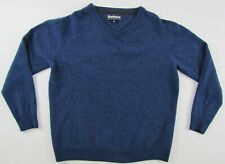 Barbour Essential Lambswool V-neck wool blue sweater jumper pullover M/L