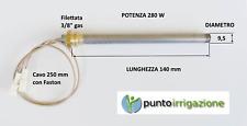 Resistenza accensione STUFA PELLET candeletta D. 9,5 x 140 250W A VITE 3/8 GAS