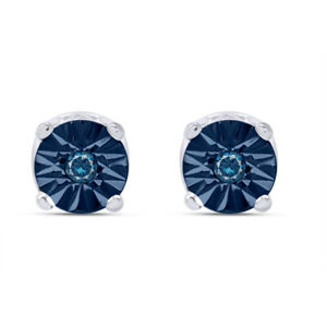 1/20 Ct Blue Natural Diamond Solid 10K Solid Gold Stud Earrings