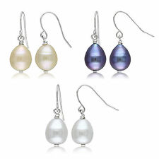 Silvertone Multi-colored Pearl 3-piece Earring Set 9-10 mm