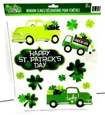 ST Pattys Day Reusable Window Clings - GREEN TRUCK Word Sayings SALE