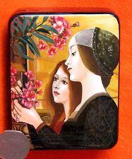 Petit russe Fabriqué À La Main repro LAQUE Boîte Klimt Deux Filles avec Oleander
