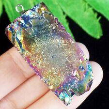 Rainbow Titanium Crystal Agate Druzy Quartz Geode Pendulum Pendant Bead S75180