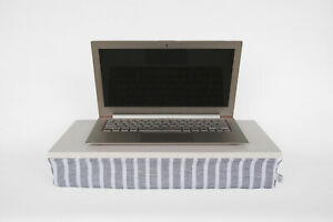 Work from home studio lapdesk for laptop in lap, grey striped