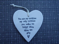 East of India White Porcelain Heart You Are My Sunshine Vintage Style Gift