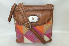 FOSSIL Brown Leather Suede Canvas Patchwork Organizer Crossbody Xbody Bag