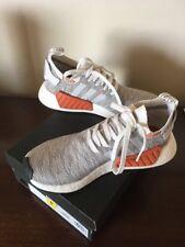Men's Boys Adidas Boost Gray White Orange Sz 8. New With Box