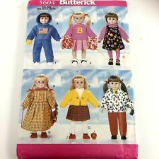 "Butterick 5604 18"" Back to School Doll Pattern Uncut American Doll"