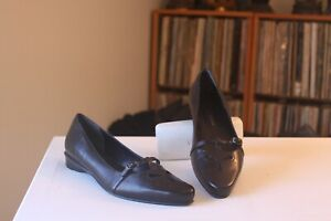 Enzo Angiolini Kyle Black Leather 1 Inch Heel Buckle Strap Loafer Pumps Size 8 M