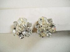 MULTI-SIZE & CUT RADIANT CZ & RHINESTONE CLUSTER HUGGIE CLIP-ON EARRINGS