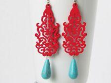 Red Earrings Red Jewelry Turquoise Earrings Women Jewelry Gift Statement Earring