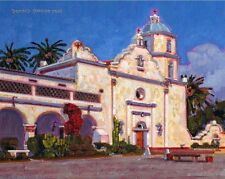 COLOR PRINT OF OIL PAINTING, CALIFORNIA MISSION #9