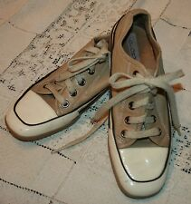 Glory Zapatos Mujer Talla 5m 5 BEIGE CREMA CHAROL Silla Cuero Informal
